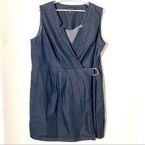 Ashley Stewart Chambray Wrap Dress Sz 24